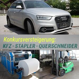 Konkursversteigerung Audi – Fuhrpark / Stapler / EDV / Lagerzubehör / Cavalleri CT12